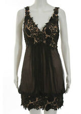 NWT JOVANI Peach Brown Silk Beaded Draping Floral Shift Dress Sz 2