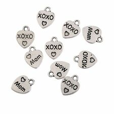 10pcs Tibetan Silver Mom heart Charms Pendant Finding Bead Jewellery Craft