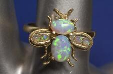 "A SOLID 9ct GOLD FIERY OPAL ""BEE"" RING SIZE O (US 7.25)"