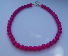 CHUNKY PURPLE OPAQUE GLASS NECKLACE SILVER PL CLASP strand 16 INCH FRL