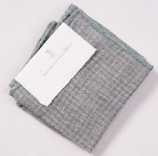 NWT $155 BRUNELLO CUCINELLI Green-Gray Puppytooth Check Linen Pocket Square