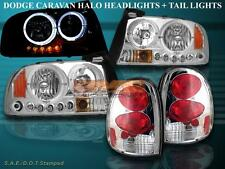 Dodge Durango Headlights Twin Halo LED + Tail Lights Chrome 1998-2003