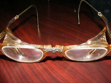 Authentic Antique WILLSON Motorcycle FOLDING Goggles -STEAMPUNK - OLd /NICE