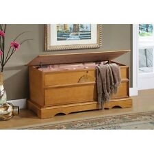Cedar Hope Chest Blanket Storage Box Oak Finish Lockable Hinged Lid Seating