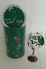 "Lolita Mini Wine Glass ""Electric Christmas"" Ornament Retired Holiday New in Box"