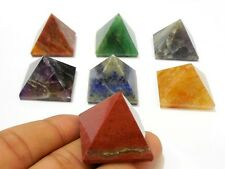 REIKI ENERGY CHARGED COMPLETE PYRAMID CRYSTAL CHAKRA SET OF 7 NATURAL HEALING3cm