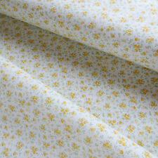2 Yards 100% Cotton Quilting Sewing Fabric Yellow Flower Cottage Calico