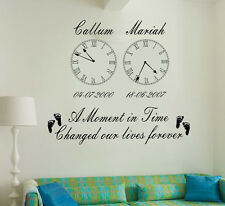 Personalized Kids Birth Date Vinyl Wall Art Clock x 2 Stickers Living room