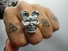 Bague originale Mickey Mouse skull crane tete de mort rock gothique ring T55 US7