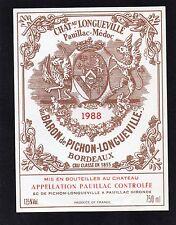PAUILLAC 2E GCC ETIQUETTE CHATEAU PICHON LONGUEVILLE BARON 1988 RARE  §24/08§