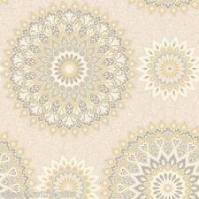 Glitter Medallion Wallpaper by Holden Decor - Beige / Gold 11453