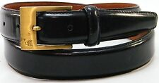 MENS CK CALVIN KLEIN BLACK LEATHER DRESS STRAP BRASS LOGO BUCKLE BELT SIZE 34/85