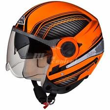 SMK Helmets- Sirius-Sharp- Orange Black - Open Face Dual Visor Motorcycle Helmet