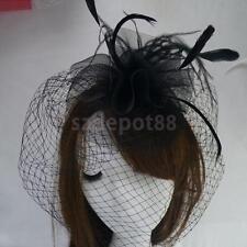 Womens Headband Hair Band w/Veil Feather Halloween Costume Headpiece