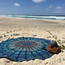 Feather Peacock Round Mandala Tapestry Hippie Hippy Style Throw Bedding Bedsp...