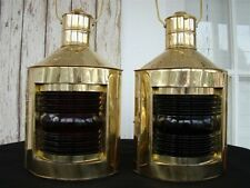 Brass Port & Starboard Lanterns ~ Set of 2 ~ Ship Oil Lamps ~ Nautical Light