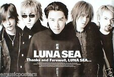 "LUNA SEA ""THANKS & FAREWELL"" POSTER FROM ASIA -Japanese J-Rock, Japan Rock Music"