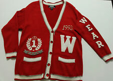 SK Wear Womens Sweater Size M Long Vintage Letterman Knit Sweater Button Up 1993