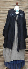 LAGENLOOK LINEN OVERSIZE LACE FINISHED GYPSY JACKET*DARK NAVY*SIZE L-XL-XXL