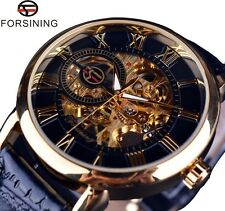 Forsining 3d Logo Design Mechanical Watch for Men Skeleton Dial Leather Strap