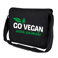 Go Vegan - Save Animals | Veganer | Schwarz | Umhängetasche | Messenger Bag