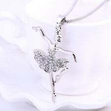 NEW Ballet Girl Crystal Rhinestone Pendant Necklace Chain Women Accessories