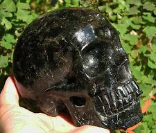 """5"""" Blue Astrophyllite Crystal Skull Healing Skeleton Detailed Carved"""