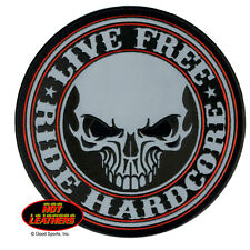 Live Free Ride Hardcore Reflective sew on Motorcycle Cruiser embroidered Patch