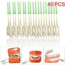 40 Pcs Clean Between Interdental Floss Brushes Dental Oral Care Color Green 2""
