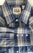 Ely Cattleman Mens Size M Medium Tan Navy Plaid L/S Western Pearl Snap Shirt