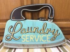 LAUNDRY SERVICE Metal Iron Laundromat Detergent Washer Dryer Soap Mobil Tin