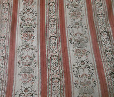 Vintage Mid century French Lisere Floral Stripe  Fabric ~ Rose Melon Gray Black