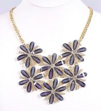 D2 Austrian Crystal & Acrylic Flower Petal Gray Silver Statement Necklace $190