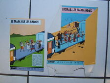 SERGE CLERC /  PRESENTOIR  SNCF / LOISIRAIL LE TRAIN ANIME  + 5 FLYERS