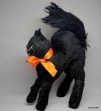 Steiff Tom Cat Black Mohair Plush 22cm 9in Halloween Kitty 1960s Glass Eyes noID