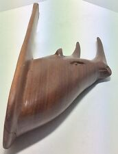 VINTAGE WOODEN RHINO WALL HOOK / CARVED WOOD ART TREEN / MID CENTURY 1960'S