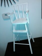 Vintage Wooden Play Doll Highchair Painted Cream Off-White Worn Lovely! LOOK