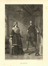 Shakespeare, Macbeth, by A. Johnston, Theater, Vintage, 1877 Antique Art Print.