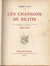 EROTICA LOUYS LES CHANSONS DE BILITIS 5 ILLUSTRATIONS ORIGINALES LOBEL RICHE