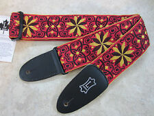 Levy's Guitar Strap JIMI HENDRIX BAND OF GYPSYS Red Yellow Flowers Woven Levys