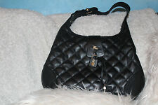 AUTHENTIC Burberry Brooke Black Quilted Nylon Leather Lock Hobo Handbag