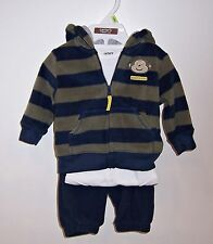 CARTERS 3-PC SET Monkey HOODED JACKET PANTS & SNAP-CROTCH SHIRT SIZE 3-MOS NEW!!