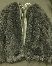 funky NWOT very Fluffy/ Fur 3/4 Black Size M Coat.lined, zip front. gorgeous