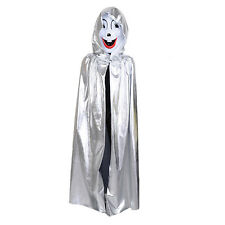 Kids Boys Girls Full Length Halloween Witch Hooded Cape Role Play Costume
