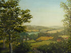 OIL ON BOARD OVER THE HILLS ARTIST ROBERT H BROWNING 1961 FREE SHIPPING