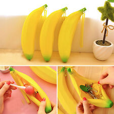 Novelty Cute Silicone Portable Banana Pencil Case Coin Purse Wallet Bag Pouch