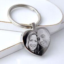 Personalised Metal Silver Heart Keyring Keychain YOUR PHOTO & TEXT ENGRAVED