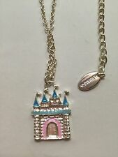 Disney Cinderella Castle Necklace Pendant Silver With Pink/Teal Enamel Accents