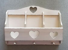 Handpainted Wood Letter Holder 3 Pegs Heart Cutouts Horizontal-Craft Storage/Key