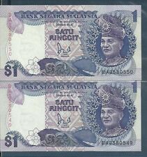 Malaysia 1 Ringgit Replacement Note, 2 Consecutive Number, 1989, P 27b, UNC